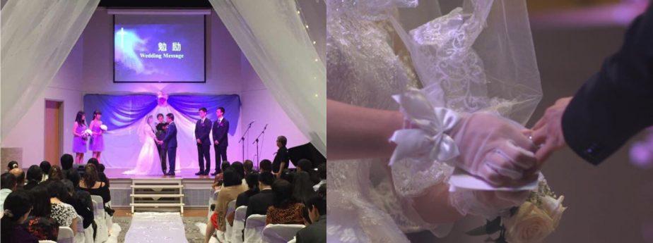 一对对新人在教会举办婚礼